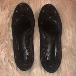 Tory Birch Reva chocolate brown flats